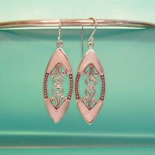 "1 1/2"" Mother of Pearl Shell Filigree 925 Bali Sterling Silver Handmade Earrings"