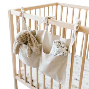 Linen Baby Crib Pocket Hanging Bag Bedside Storage Bag for Toys Diaper Pocket
