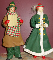 "Lot 2 Clothtique Caroler Christmas Couple Figurine Pair 10"" Possible Dreams 1987"