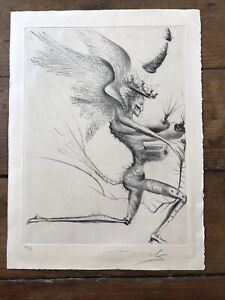 Salvador Dali Original Signed Drypoint Etching Le Damon 16/50