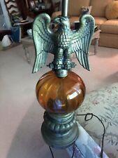 RARE Vintage Metal Eagle Amber Glass Lamp ~ Collectible Decor~ NICE