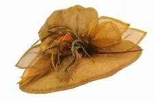 Ladies Tan Wide Brim Sinamay Racing Carnival Hat with Yellow Orange Ribbons