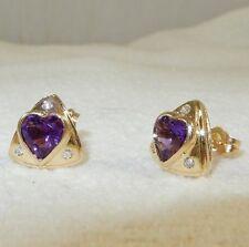 Vintage 14k YG 3.0ct Heart Shaped Amethyst Earrings with Diamond Triangle Shape