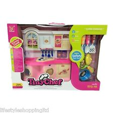 Kids Interactive Kitchen Playset Toy Light & Sound Realistic Cooking Girls Gift