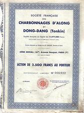 Original Indochina Bond Charbonnages d'Along Dong Dang Tonkin Coal Co 2.500 fr