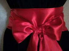 "3.5x60"" RED SATIN SASH SELF TIE BOW BOW WRAP AROUND BELT for PARTY DRESS WEDDING"