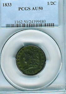 1833 Classic Head  Half Cent : PCGS AU50