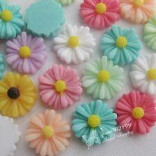 50pcs Mix Color13mm Resin Daisy DIY Flatback Button Scrapbooking Crafts JOB085