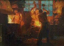 Claude Firmin Les Forgerons huile sur panneau Groupe des Treize 1910 Avignon