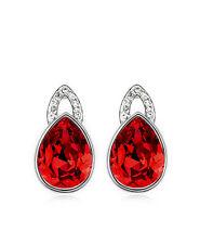 Amazing Shiny Silver & Red Tear Studs Earrings E614