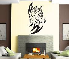 Wolf Head Predator Aggressive Tribal  Mural  Wall Art Decor Vinyl Sticker z902