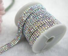 1y 4 Row 2.5mm Crystal AB Rhinestone Silver Plated Chain Sew On Applique LZ65