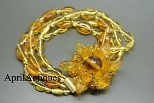 Vintage Miriam Haskell Filigree Flower leaf yellow glass beaded Bracelet