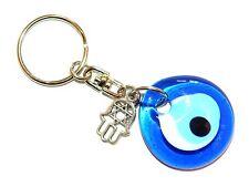 0211 - 3cm Glass Lucky Evil Eye & Hamsa Hand - Keyring / Bag Decoration