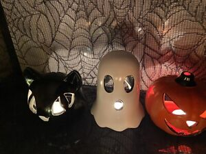 Halloween Witches Cat , Ghost And Pumpkin With Yankee Candle Halloween Tealights
