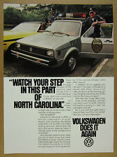 1980 VW Volkswagen Rabbit Police Cop Car photo vintage print Ad