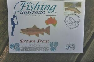 2003 FISHING AUSTRALIA ALPHA FIRST DAY COVER BROWN TROUT STAMP