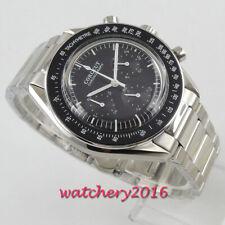 40mm corgeut black dial steel bracelet quartz full chronograph mens watch