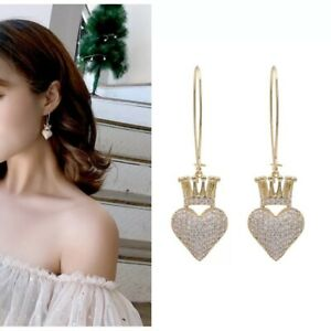 Beautiful Gold Heart Crown Hoop Dangle Earrings Made With Swarovski Crystals