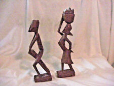"""+NATIVE WOOD SCULPTURE MAN    WOMAN  AFRICAN?  ISLAND? WOOD CARVED 9 1/2""""  & 11"""""""