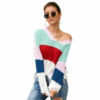 Womens Knitted T-Shirt Jumper Long Sleeve Tops Knitwear Sweater Pullover