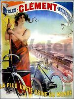 Cycles Clement 1895 Bicycles Motorcycles French Advertising Vintage Poster Print