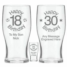 Personalised 18th 21st 30th 40th 50th 60th Pint Beer Glass - Birthday Gift - NB