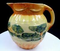"ROSEVILLE YELLOW WARE COUNTRY SCENE RIBBON & BOW TRIM 7 1/2"" PITCHER"