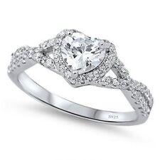 Heart Shape Jewelry Soild 925 sterling silver Cz Women Engagement Wedding Ring