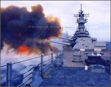 Photo: USS Missouri Iowa Class Battleship Fires 16in Guns, On Board Dawn View