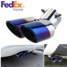 Car Round Dual Pipes Exhaust Muffler Tail Throat Tips Blue Burnt Stainless Steel