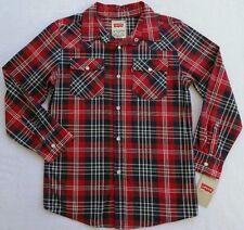 NWT LEVI'S Boys Red, White & Blue Plaid Shirt(Size Medium) NEW