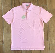 New Authentic Mens Peter Millar Crown Sport Golf Polo Shirt Pink Solid Sz M