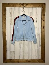 St. John sport size P velour track jacket blue with sleeve stripe long sleeves