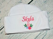 dd8519de6f775 PERSONALIZED Baby Hat Monogrammed w  Name   Roses Infant Hat Newborn Girl  Cap