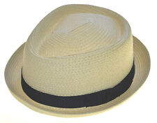 Upturn Straw Fedora Diamond Crown With Black Band-natural-sm
