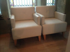 Exceptional Pair White Ostrich Leather Designer Club Chairs Rare Game