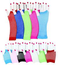 Neu Netzhandschuhe Netz Handschuhe Stulpen für Fasching Karneval Pink Grün usw
