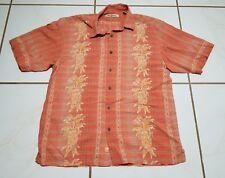 Tommy Bahama Large Hawaiian Aloha Friday Shirt Vertical Embroidered Lines B1329