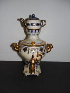 """Vintage Handpainted Porcelain Samovar with Teapot Cobalt Gold USSR 10,5"""" x 6,5"""""""