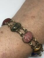 Vintage Scarab Bracelet Gold Filled Gemstone