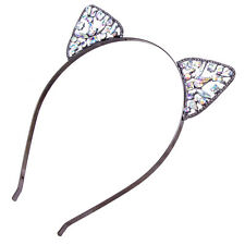 Womens Metal Rhinestone Cute Cat Ear Headband Hairband Costume Fancy Cosplay