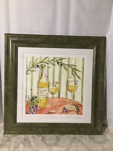 """Wine Themed Wall Picture 21""""x21"""", Green frame"""