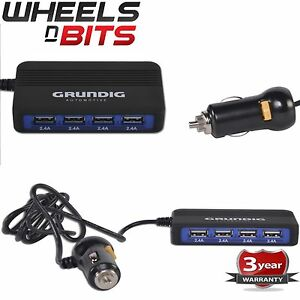 4Way 2.4Ampx4 USB Fast Charger iPhone iPod Android Samsung 12/24 Volt Car Truck