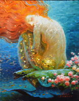 Home art decor fantasy VINTAGE mermaid Oil painting Picture Printed on canvas v5