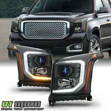 2015-2017 GMC Yukon XL Halogen Type Black LED DRL Projector Headlights Headlamps