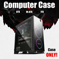 Black ATX M-ATX ITX Gaming PC Mid Tower Computer Case USB 3.0 RGB Tempered
