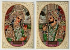Royal Couple Shahjahan Mumtaz Miniature Ivory Painting Indian Wall Art Painting