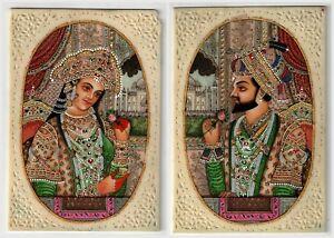 Indian Royal Couple Shahjahan Mumtaz Miniature Ivory Painting Wall Art Painting