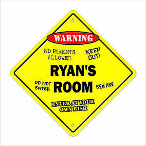 Ryan's Room Decal Crossing Xing kids bedroom door children's name boy girl